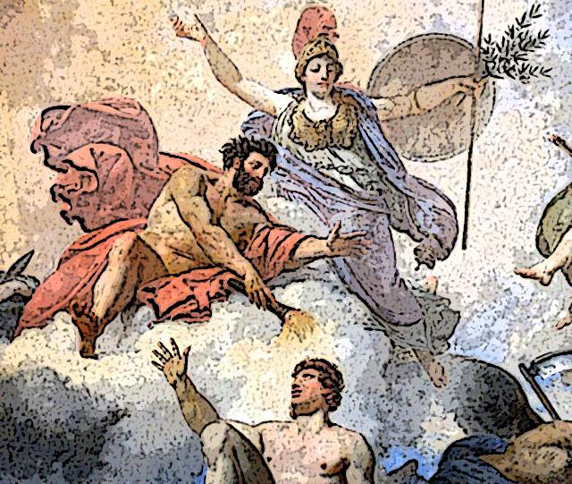 人間に火を与えるプロメテウス