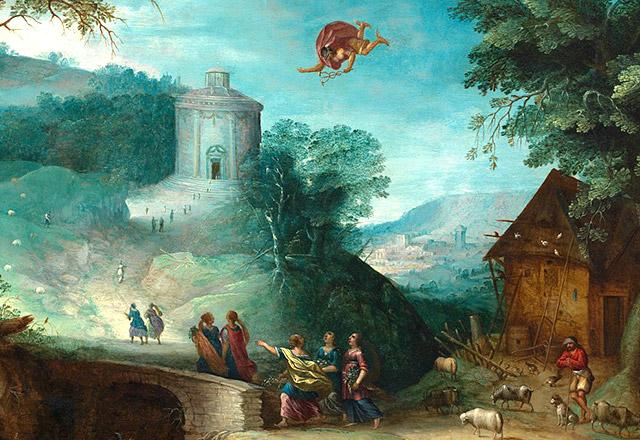 アテナイの上空を飛ぶ神メルクリウス