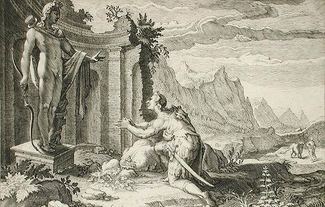 デルポイのアポロン神の神託を聞くカドモス
