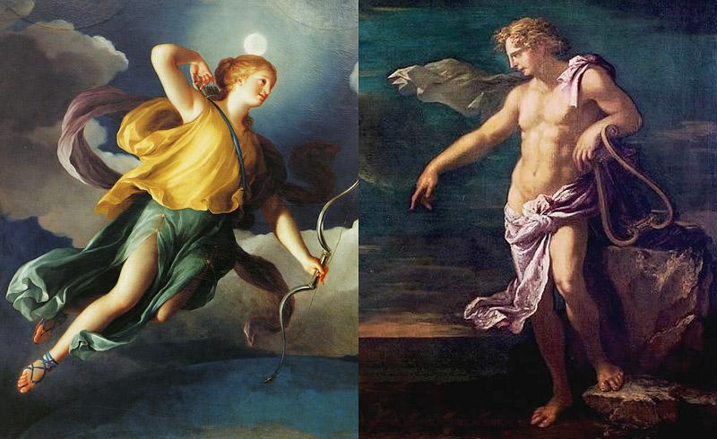 女神ディアナとアポロン神
