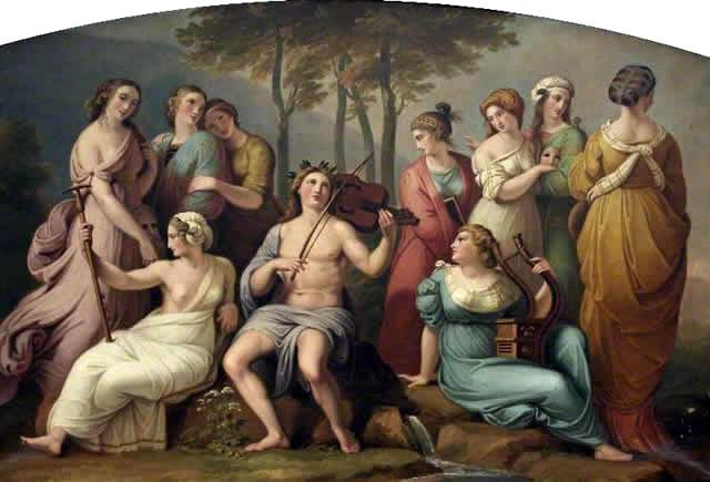 パルナッソス山にあるアポロンとムーサたち