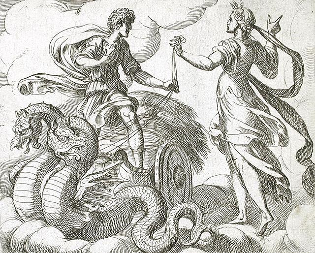 饒の女神ケレス、トリプトレモスに竜の車を与える