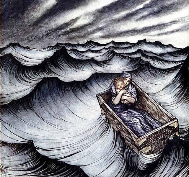 箱に入れられ海に捨てられた母ダナエとペルセウス