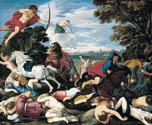 虐殺するアポロンとディアナ(アルテミス)