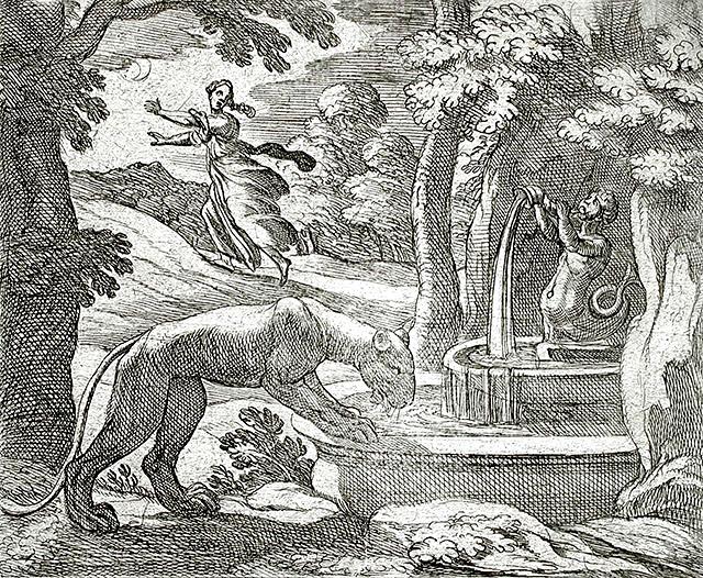 ライオンから身を隠すティスベ