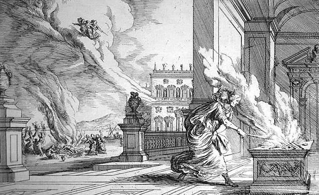 メレアグロスの命の丸木を燃やすアルタイア
