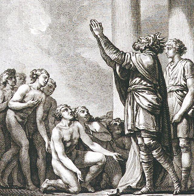 ミュルミドンたちを前にユピテルに感謝するアイアコス王
