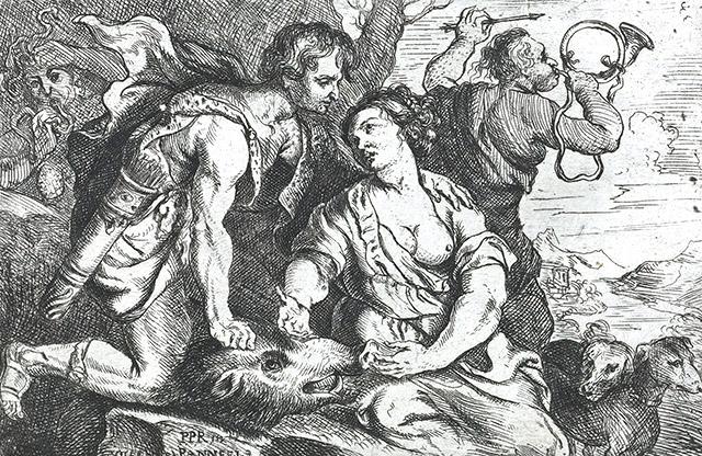 メレアグロス、猪の頭をアタランタに捧げる