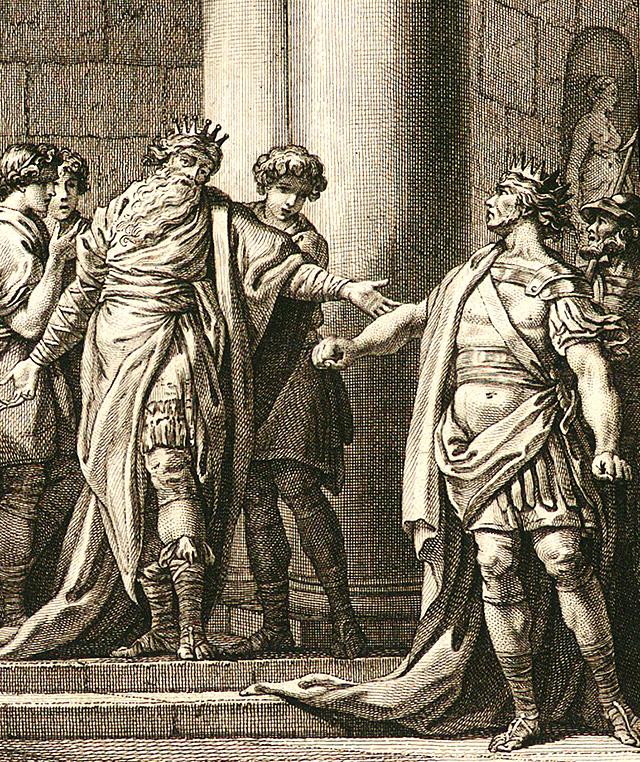 アイアコス王に会うミノス王