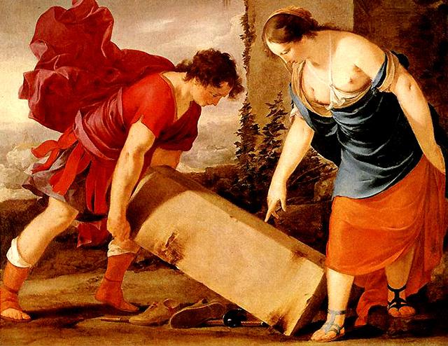 テセウスとアイトラ(隠された剣とサンダル)