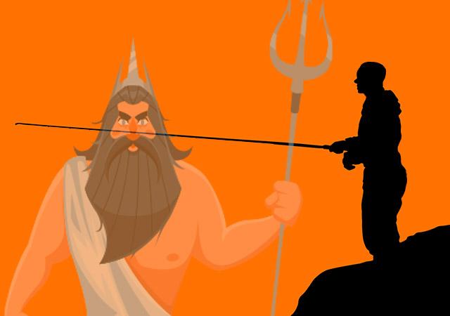 海神ネプトゥヌス(ポセイドン)と男に変身したムネストラ